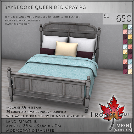 baybrooke queen bed gray PG L650