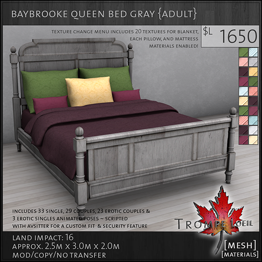 baybrooke queen bed gray adult L1650
