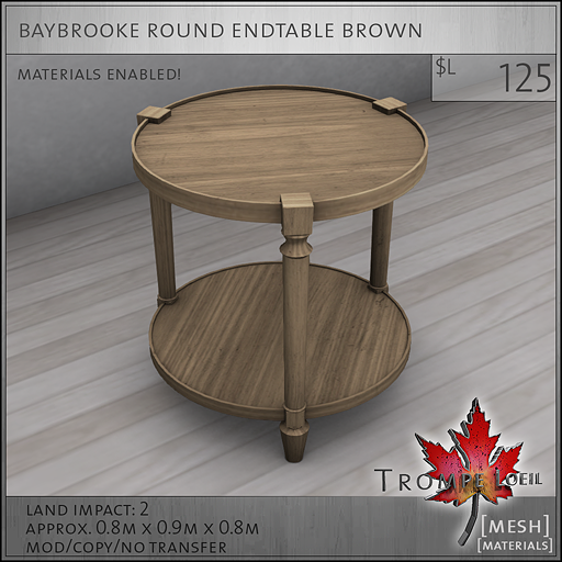 baybrooke round endtable brown L125