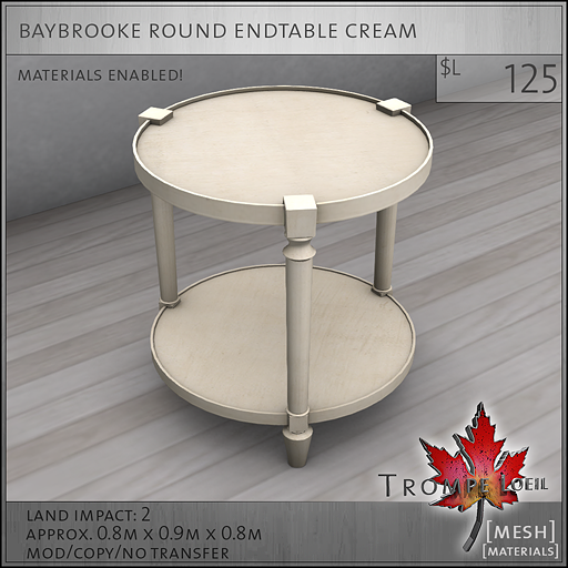 baybrooke round endtable cream L125