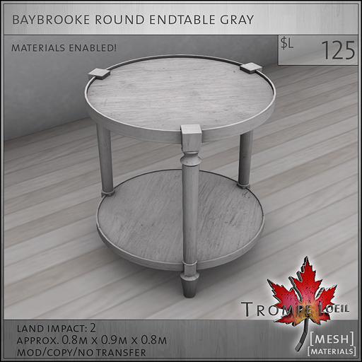 baybrooke round endtable gray L125