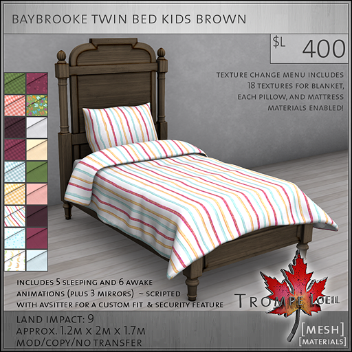 baybrooke twin bed kids brown L400