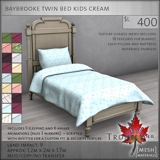 baybrooke twin bed kids cream L400
