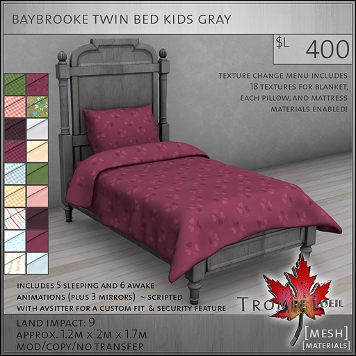 baybrooke twin bed kids gray L400