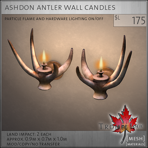 ashdon antler wall candles L175