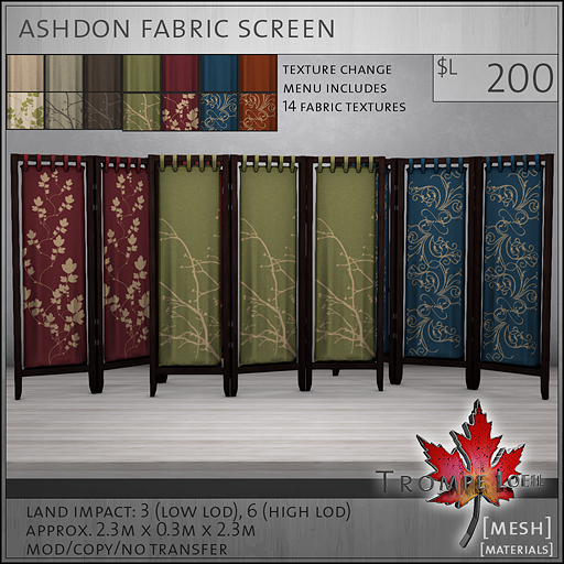 ashdon fabric screen L200