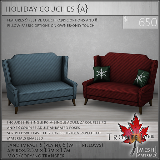 holiday couches Adult L650