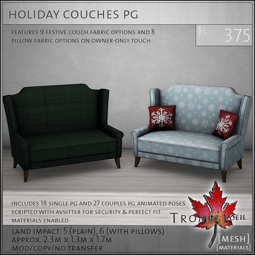 holiday couches PG L375