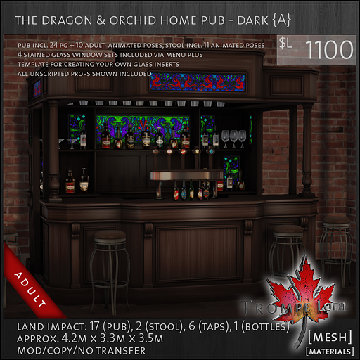dragon and orchid home pub dark Adult L1100