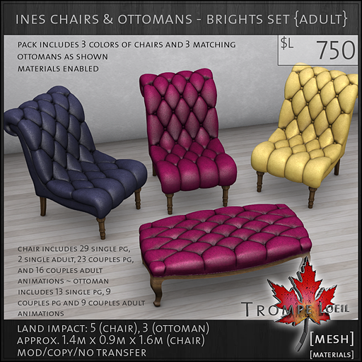 ines chairs ottomans brights Adult L750