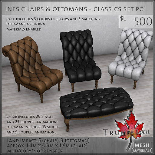 ines chairs ottomans classic PG L500