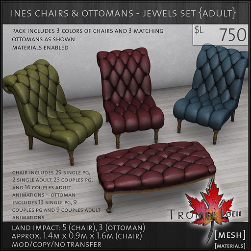 ines chairs ottomans jewels Adult L750