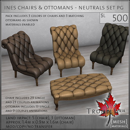 ines chairs ottomans neutrals PG L500