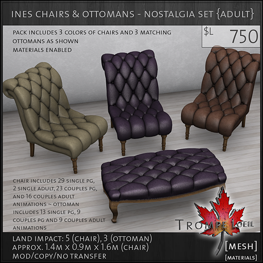 ines chairs ottomans nostalgia Adult L750