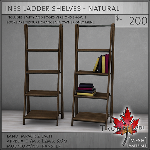 ines ladder shelves natural L200
