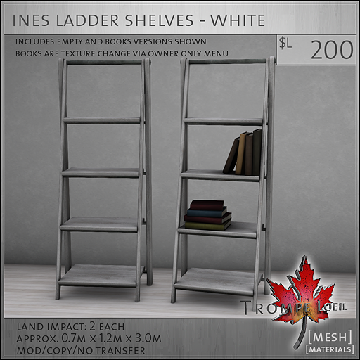 ines ladder shelves white L200
