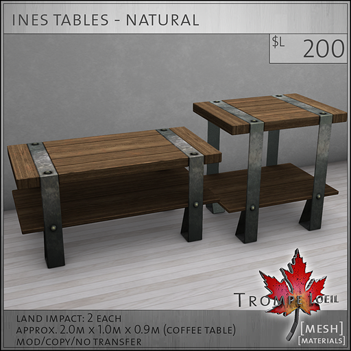 ines tables natural L200