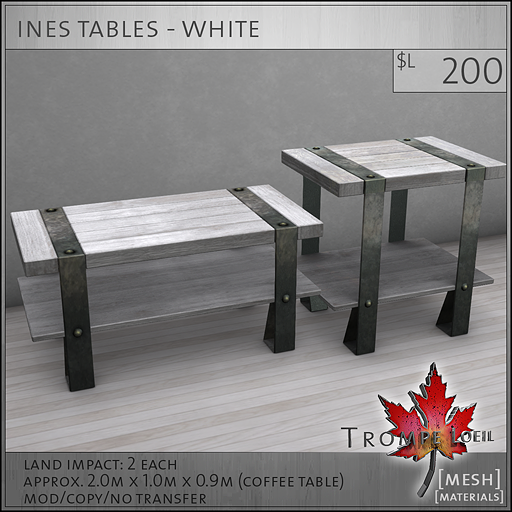 ines tables white L200