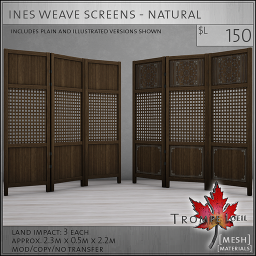 ines weave screens natural L150
