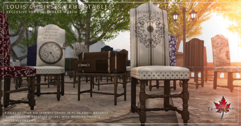 Trompe Loeil - Louis Chairs and Trunktables for Collabor88 March