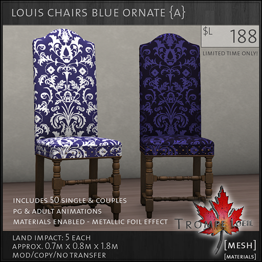 louis chairs blue ornate A L188
