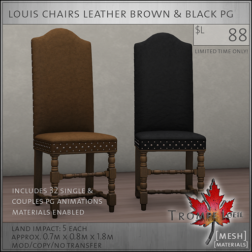 louis chairs leather brown black PG L88