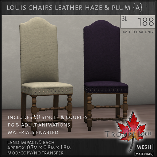 louis chairs leather haze plum A L188