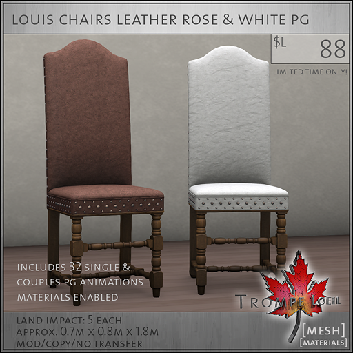 louis chairs leather rose white PG L88