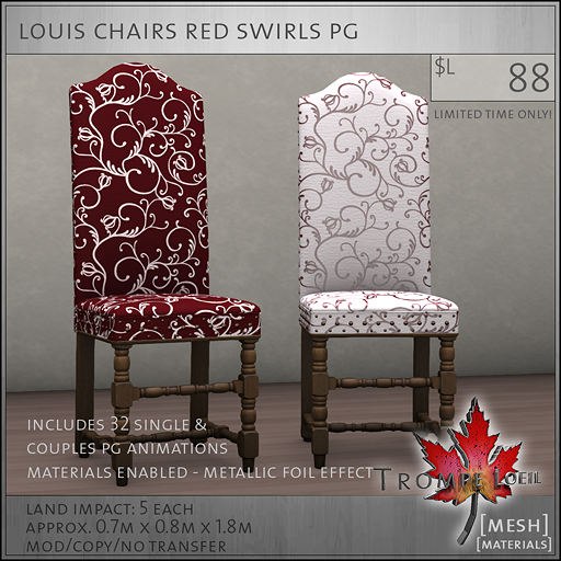 louis chairs red swirls PG L88