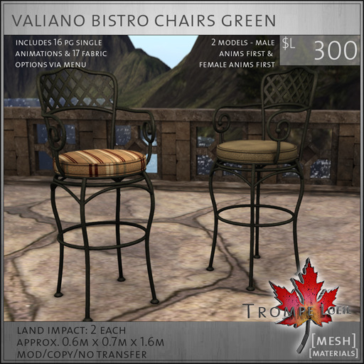 valiano bistro chairs L300