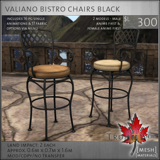 valiano bistro chairs black L300