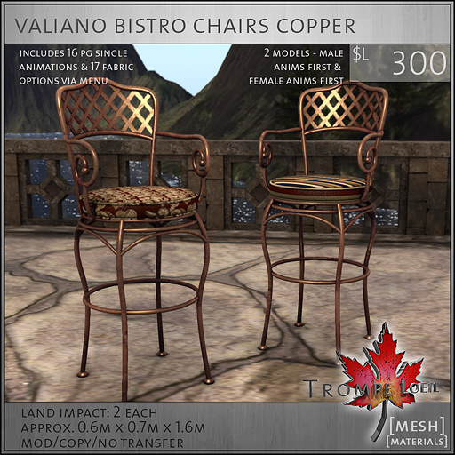 valiano bistro chairs copper L300