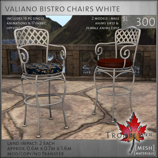 valiano bistro chairs white L300