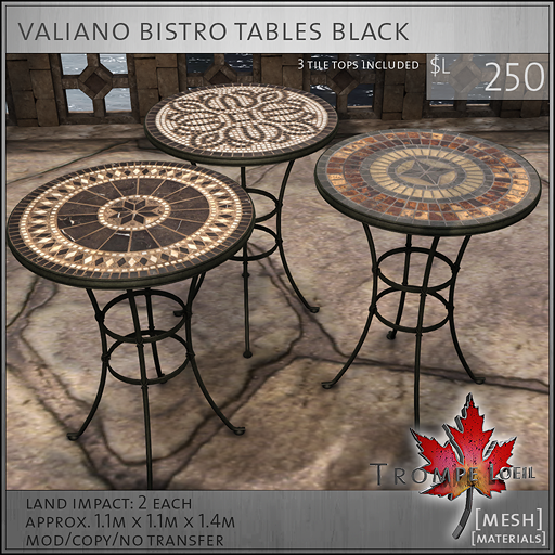 valiano bistro tables black L250