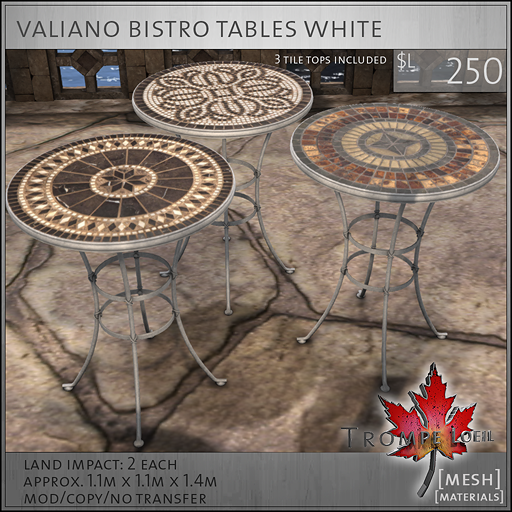 valiano bistro tables white L250