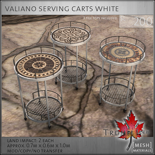valiano carts white L250