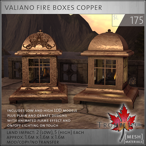 valiano fire boxes copper L175