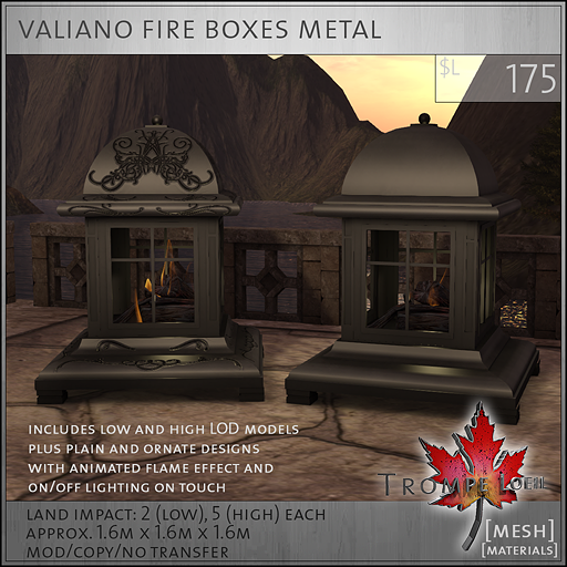 valiano fire boxes metal L175