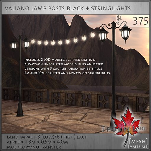 valiano lamp posts black L375