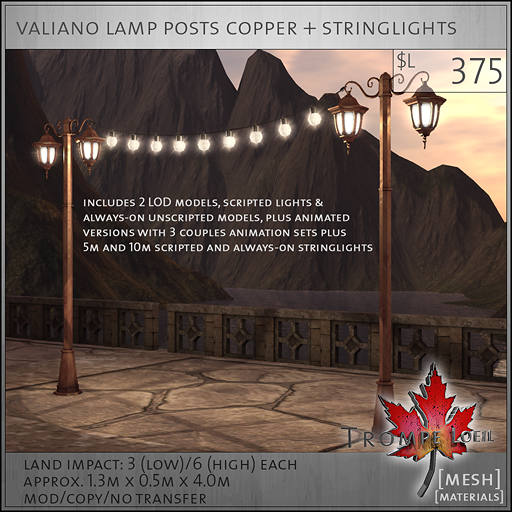 valiano lamp posts copper L375