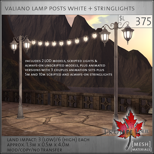 valiano lamp posts white L375