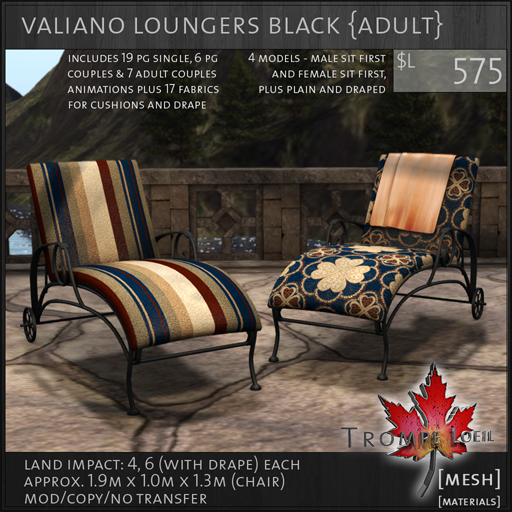valiano loungers black Adult L575