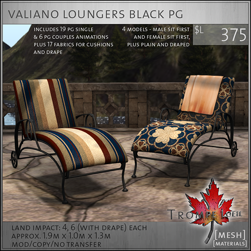 valiano loungers black PG L375