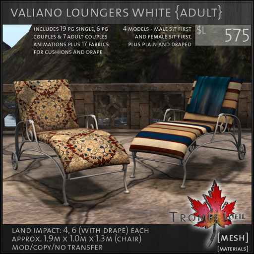 valiano loungers white Adult L575