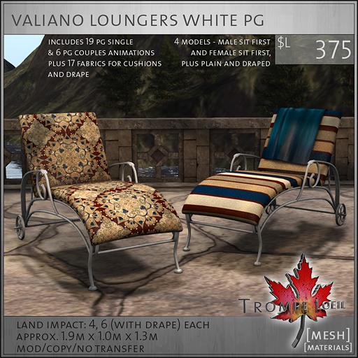 valiano loungers white PG L375