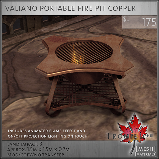 valiano portable fire pit copper L175