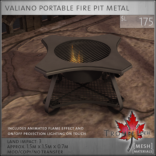 valiano portable fire pit metal