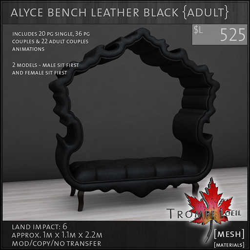 alyce bench leather black Adult L525