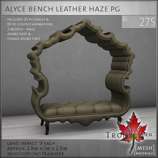 alyce bench leather haze PG L275