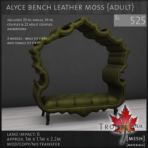 alyce bench leather moss Adult L525